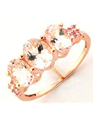PINK MORGANITE PINK SAPPHIRE GEMSTONE & DIAMOND RING IN ROSE GOLD PLATED 925 STERLING SILVER JEWELRY - B00SL35ELI