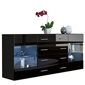 sideboard chest of drawers bari v2 in black matt black. Black Bedroom Furniture Sets. Home Design Ideas