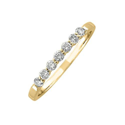 14K Yellow Gold 7 Stone Prong Set Wedding/Anniversary Diamond Band Ring (Hi, Vs1-Vs2 ,0.25 Carat )