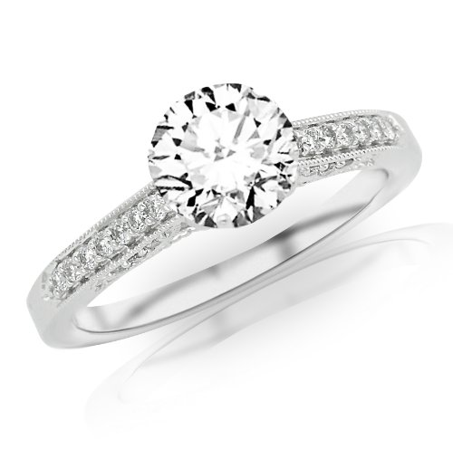 1.14 Carat Classic Designer Pave Set Diamond Engagement Ring w/ Round Brilliant Cut Center (J Color I1 Clarity)