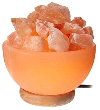 WBM Himalayan Light # 1326 bowl Natural Air Purifying Himalayan Salt Lamp with Crystal chunks, Neem Wood Base, Bulb and Dimmer switch