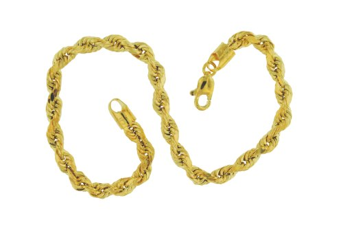 9ct Yellow Gold 80 Hollow Diamond Cut Rope 19cm