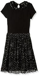 Jessica Simpson Big Girls' Shareen Peter Pan Collar Dress, Black, Large