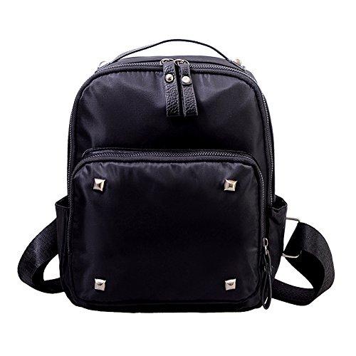 Chinatera da donna con borchie in Nylon impermeabile, Zaino per scuola, borsa a tracolla, colore: nero, nero (Nero) - 104400