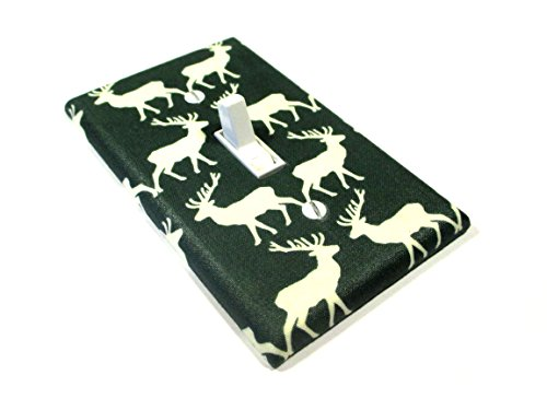 Forest Green with Cream Deer Light Switch Cover