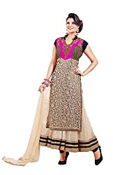 Siya Fashion women's Net Party Wear Unstitched Dress Material(si2003_ Beige color)