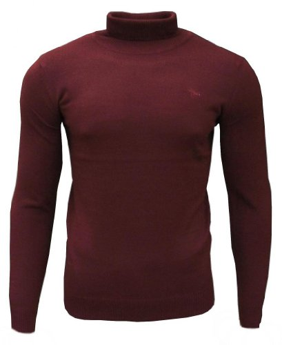 Soul Star Dagenham Men's Roll Neck Fashion Casual Jumper Top Burgundy Medium