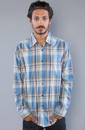 RVCA The Raceway Plaid Buttondown Shirt in Royal Fade,Buttondown Shirts for Men