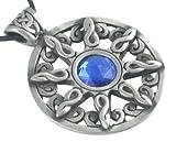 Blue Crystal Celtic Sun Design Pewter Pendant Necklace
