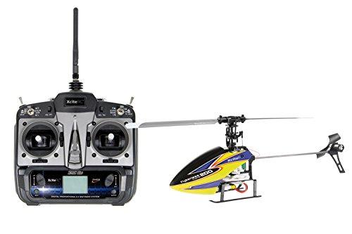 13000110 Ferngesteuerter RC Hubschrauber Flybarless 200 Trainer RTF 2.4 GHz 4 mit 6S Profi 6 Kanal Sender gelb blau