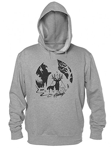 Always Circle Design With Deer And Castle In The Background Men's Hooded Sweatshirt Large