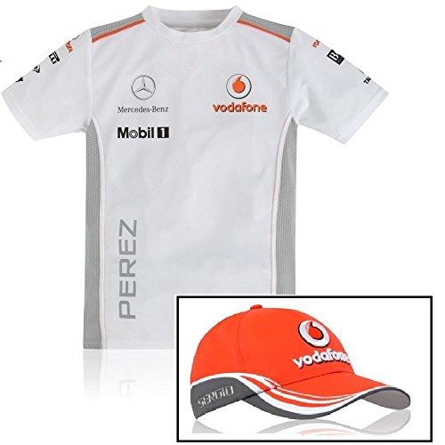 enfant-formule-1-equipe-vodafone-mclaren-2013-perez-casquette-et-t-shirt-pour-homme-enfant-blanc-xl