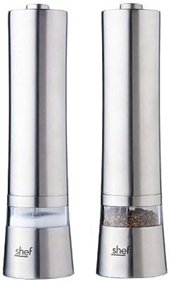 Shef - 2 x Electronic Motorised Salt & Pepper Mill Grinder - Stainless Steel from VonShef