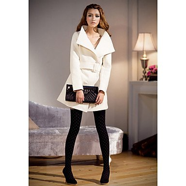 EIK Semplice risvolto cappotto di tweed Collar Slim Nianman donne (Crema) , cream , one-size