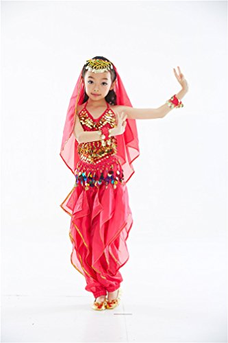 Dreamspell Rose Red Children Dacing Costume/Suit Coins decorated(L Size)