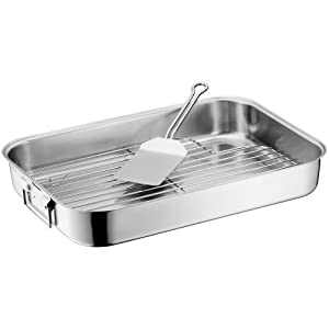 WMF Roasting Pan with Insert and Turner, 18/10 Stainless Steel, 40cmx28 cm
