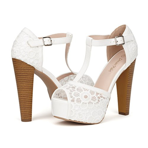 04. DREAM PAIRS LAURA Women's Peep Toe High Heel T-Strap Enjoyable Platform Pumps Sandals Shoes