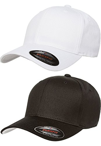 Premium Original Flexfit V-Flexfit Cotton Twill Fitted Hat 5001 2-Pack (L/XL, Black/White) (Fitted Hats compare prices)