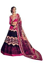 Viva N Diva Women's Black Banglori Silk Printed Lehenga.