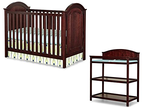 Imagio Baby Harper 3 in 1 Cottage Panel Crib and Changing Table Set, Chocolate Mist - 1