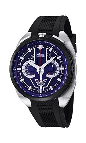 Lotus Men's Quartz Watch with Blue Dial Chronograph Display and Black Rubber Strap 10128/3