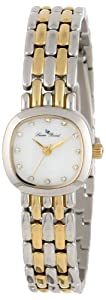 Lucien Piccard Women's 12012-SG-02MOP Teide White Mother-Of-Pearl Dial Crystal Accented Two Tone Stainless Steel Watch