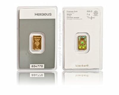 2g 2 g Gramm Goldbarren Heraeus Kinebar Barren aus Gold 999.9 Hologramm Zertifikat Anlagegold24 h 7 Tage kaufen