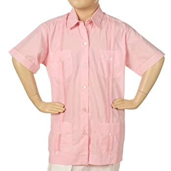 Guayabera for girls poly cotton short sleeve. Color: pink