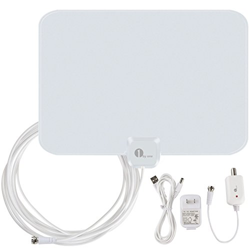 Best Price! 1byone OUS00-0562 Amplified HDTV Antenna 50 Miles Range with USB Power Supply and 20 Fee...