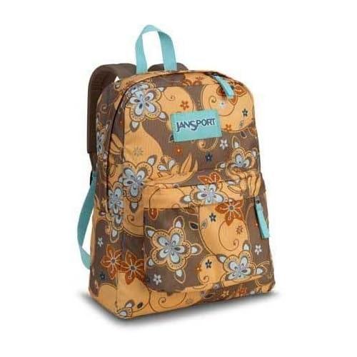 """Amazon.com: Jansport SuperBreak """"Fiji Orange Henna Floral"""" Backpack"""