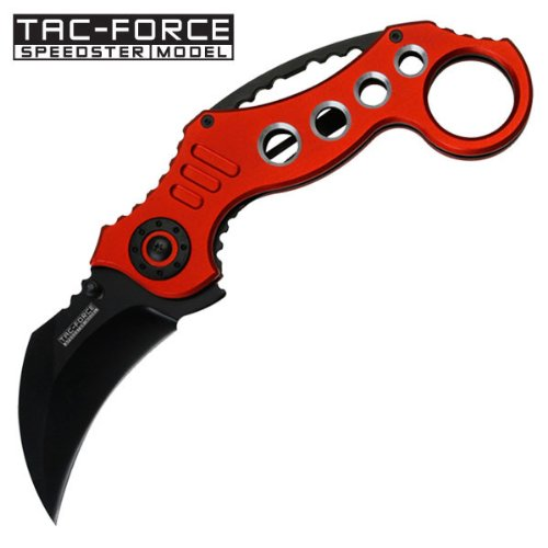 TAC-FORCE SPEEDSTER MODEL SPRING ASSISTED KNIFE HAWKBILL STYLE (RED) (Tac Force Speedster Model Knife compare prices)