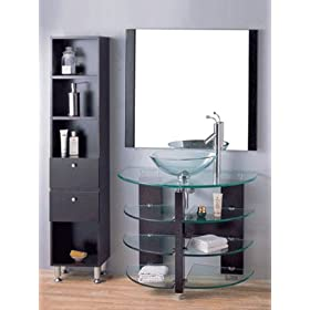 Bathroom Mirrors Contemporary on Bathroom Modern Design Vanity Set With Glass Vessel Sink With Bathroom
