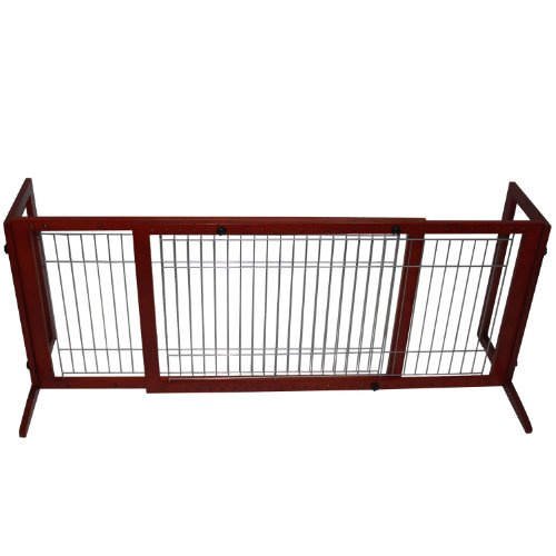 "Pawhut Wood Large Freestanding Pet / Dog Gate Fence - Adjustable 40.5"" To 74"" front-25193"