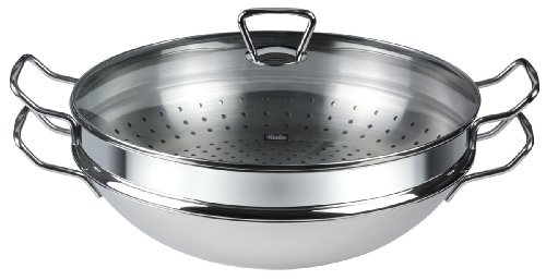 Fissler 0683335001 Nanjing Wok (Induction) with Steaming Insert Glass Lid and Colander