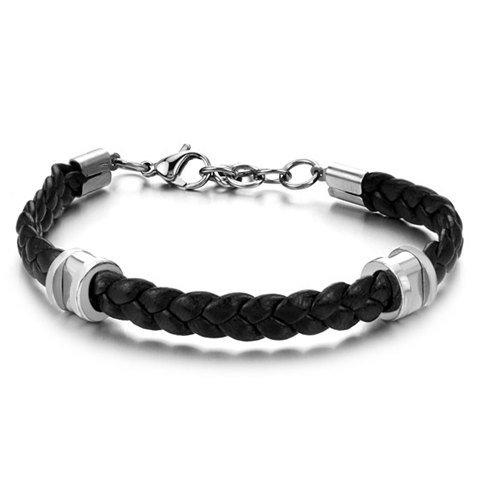 Intrecciato collegamento braccialetto di cuoio, di collegamento del braccialetto in pelle per uomo