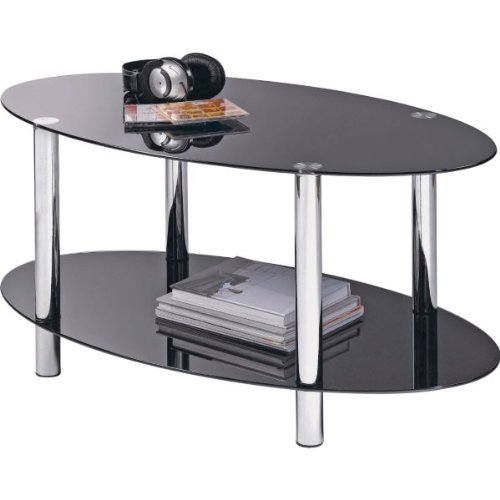 Hygena Matrix Oval Coffee Table Black Glass Ebay
