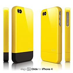 elago S4 Glide Case for iPhone 4 - Sport Yellow + Extra Bottom Clip + Front Protection Film + Back Protection Film included