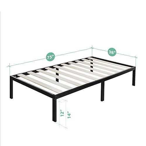 Zinus Modern Studio Platform 1000 Metal Bed Frame/Mattress Foundation, no Boxspring needed, Wooden Slat Support, Twin