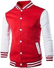 RH Mens Ribbed Hem Letterman Baseball Jacket Outdoor Sweatshirt