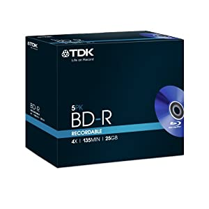 TDK T78008 25GB 4x Recordable BD-R - Jewel Cased 5 Pack