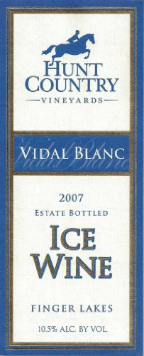 Hunt Country 2007  Vidal Blanc Ice Wine Finger Lakes Estate Bottled 375 mL