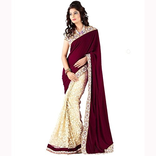 Lavri Latest Women's Velvet Brasso Designer Brown sarees With Un-stitched Blouse + FREE Eye Care Cool Mask
