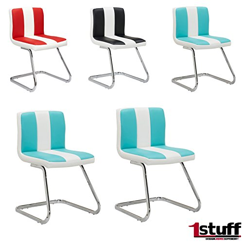 2-x-Retrostuhl-AMERICAN-DINER-von-1stuff-Esszimmerstuhl-Konferenzstuhl-Besucherstuhl-Freischwinger-Kchenstuhl-Barstuhl-Loungesessel-Basic-trkis-wei