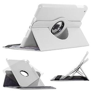ebestStar - Pour Tablette Apple IPAD MINI - Housse Coque Etui SMART COVER en PU cuir, couleur BLANC, magnétique / aimantée pour la mise en veille, coque arrière rigide, format rotatif, à ROTATION 360° (convertible en format livre / portefeuille ou vertical). En cadeau : 1 film de protection d'écran transparent