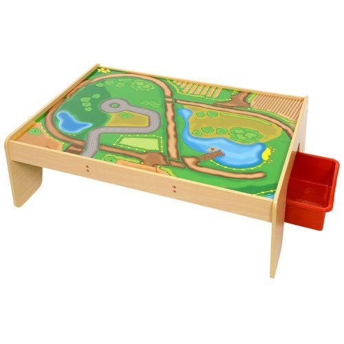 Bigjigs Wooden Rail - Train Table With Drawers