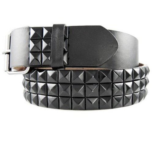 Geniune Leather Black Studded Belt with Black Studs, Medium