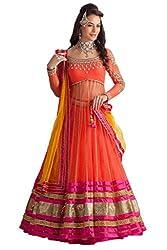 Bhagwati Women's Net Embroidered Unstitched Dress Material (rimzim_Orange_Freesize)
