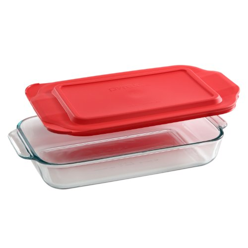 Pyrex 2-qt Oblong Baking Dish w/ Red Cover