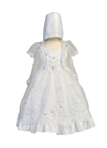 For Sale Embroidered Organza Dress with Silver Sequins and Short Sleeve Cape Christening Baptism Special Occasion - Size 1 (12-18 Month)  Review