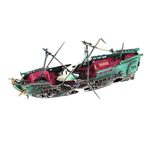 Demiawaking 水槽アクセサリー 水族館装飾 沈没船の飾り 酸素提供...